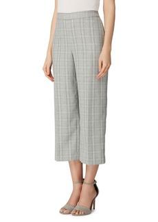Tahari Arthur S. Levine Cropped Wide-Leg Plaid Pants