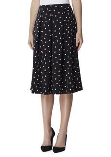 Tahari Arthur S. Levine Dotted Inverted-Pleat Midi Skirt