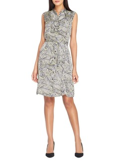 Tahari Arthur S. Levine Double Ruffle Stand Collar Belted Dress