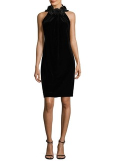 Tahari Arthur S. Levine Embellished Halterneck Sheath Dress