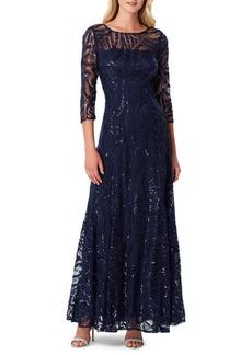 Tahari Arthur S. Levine Embellished Three-Quarter Sleeved Gown