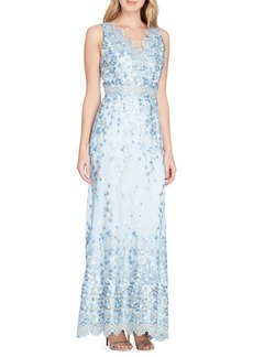 Tahari Arthur S. Levine Embroidered A-Line Gown
