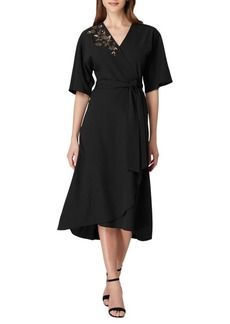 Tahari Arthur S. Levine Embroidered A-Line Kimono Dress
