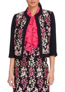 Tahari Arthur S. Levine Embroidered Floral Mesh-Frame Jacket