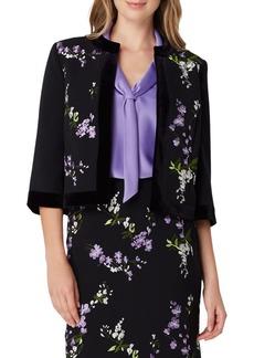 Tahari Arthur S. Levine Embroidered Floral Velvet-Trim Jacket