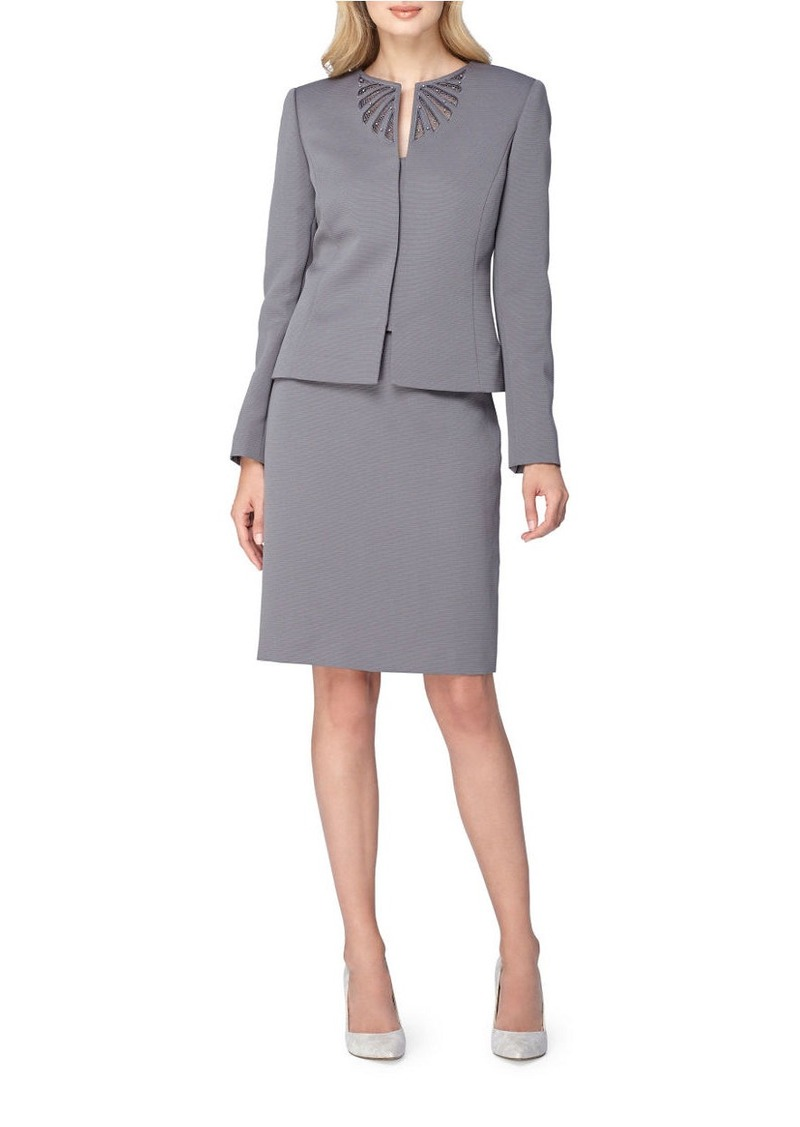 77dfbaf81955 ARTHUR S. LEVINE Embroidered Jewel Neck Kissing Jacket Skirt Suit. Tahari