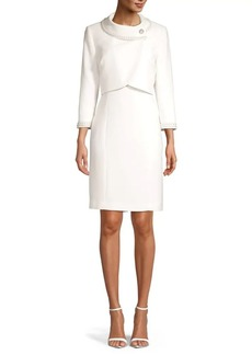 Tahari Arthur S. Levine Faux-Pearl 2-Piece Jacket Dress Set