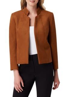 Tahari Arthur S. Levine Faux-Suede Stand Collar Jacket