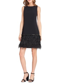 Tahari Arthur S. Levine Feather-Trim Crepe Fit-&-Flare Dress