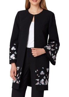 Tahari Arthur S. Levine Floral-Embroidered Crepe Topper Jacket
