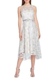 Tahari Arthur S. Levine Floral Embroidered Mesh Midi Dress