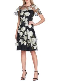 Tahari Arthur S. Levine Floral Embroidered Mesh Short Sleeve Dress