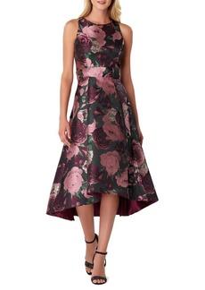 Tahari Arthur S. Levine Floral Jacquard FIt-&-Flare Midi Dress
