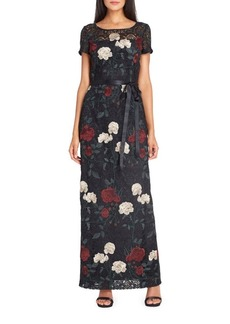 Tahari Arthur S. Levine Floral Lace Embroidered Gown