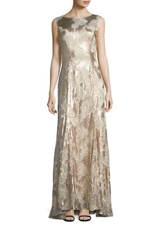 Tahari Arthur S. Levine Floral Lace Embroidery Trumpet Gown