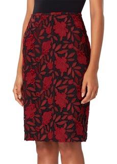 Tahari Arthur S. Levine Floral Lace Knit Pencil Skirt