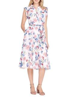 Tahari Arthur S. Levine Floral Ruffle Trim Dress