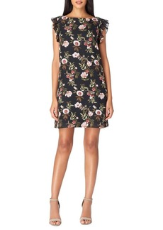 Tahari Arthur S. Levine Floral Ruffle Trim Shift Dress
