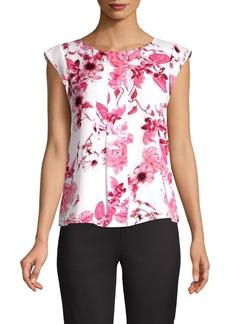 Tahari Arthur S. Levine Floral Shirred Cap Sleeve Top