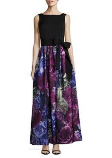 Tahari Arthur S. Levine Floral Skirt Floor-Length Gown