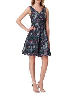 Tahari Arthur S. Levine Floral V-Neck Fit-&-Flare Dress