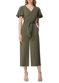 Tahari Arthur S. Levine Flutter-Sleeve Cropped Jumpsuit