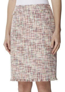 Tahari Arthur S. Levine Fringed Straight Boucle Pencil Skirt