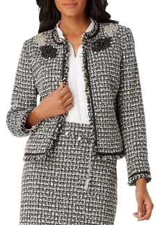 Tahari Arthur S. Levine Fringed Tweed Jacket