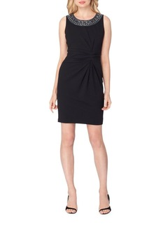 Tahari Arthur S. Levine Gathered Scuba Crepe Sheath Dress