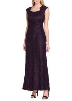 Tahari Arthur S. Levine Glittered Cap-Sleeve Lace Gown