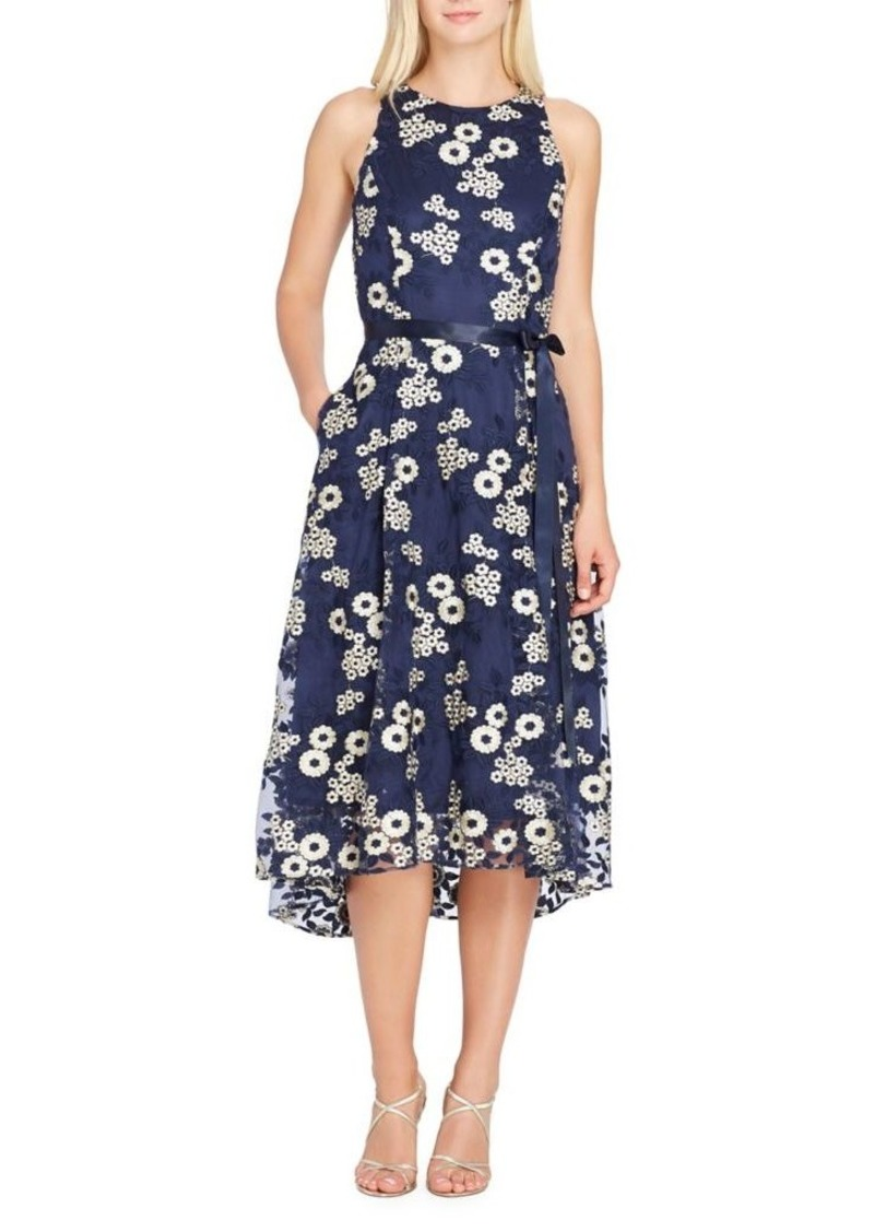 Tahari Arthur S. Levine Hi-Lo Floral-Embroidered Midi Dress