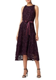 Tahari Arthur S. Levine High-Low Soutache Lace & Ribbon Dress