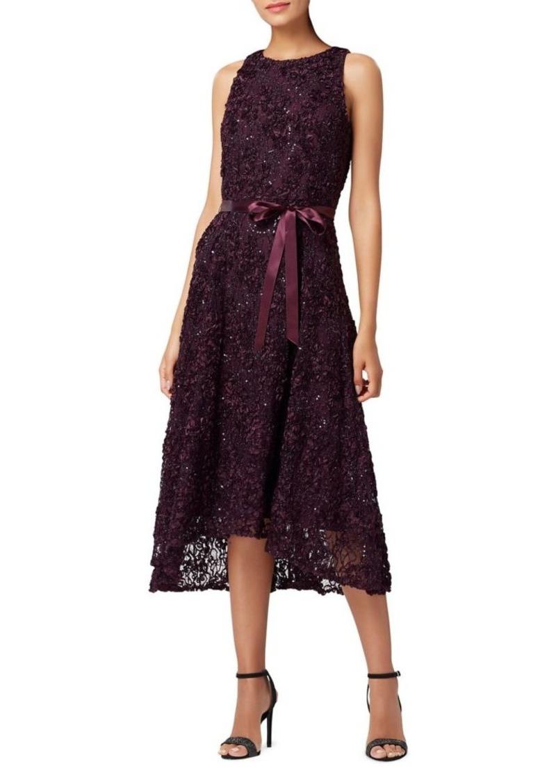 Tahari Arthur S. Levine High-Low Soutache Lace & Ribbon Dress