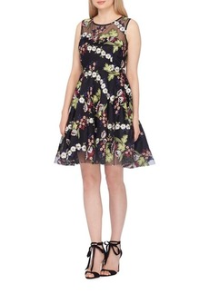 Tahari Arthur S. Levine Illusion Embroidered Fit-and-Flare Dress