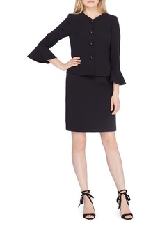 Tahari Arthur S. Levine Jewel Neck Bell Sleeve Jacket and Back Vent Skirt Suit