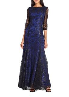 Tahari Arthur S. Levine Lace Floor-Length Gown