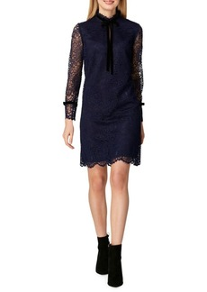 Tahari Arthur S. Levine Lace Tie-Neck Shift Dress