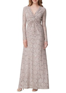 Tahari Arthur S. Levine Lace Twisted-Front Gown