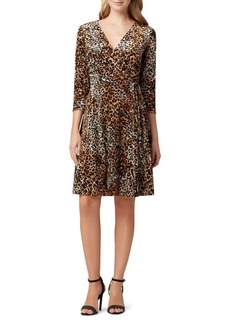 Tahari Arthur S. Levine Leopard-Print Velvet Faux Wrap Dress