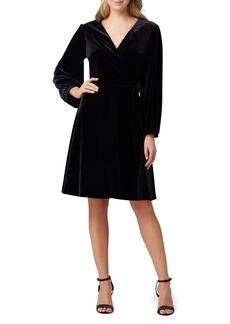 Tahari Arthur S. Levine Long-Sleeve Velvet Wrap Dress