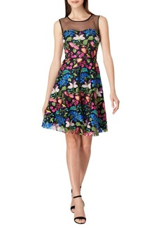 Tahari Arthur S. Levine Mesh & Floral Fit-&-Flare Dress