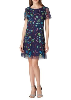 Tahari Arthur S. Levine Mesh-Embroidered Shift Dress