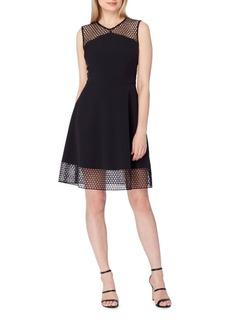 Tahari Mesh Lace Fit-&-Flare Dress