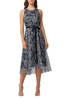 Tahari Arthur S. Levine Metallic Embroidered A-Line Dress