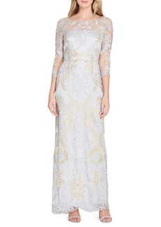 Tahari Arthur S. Levine Metallic Embroidered Column Gown