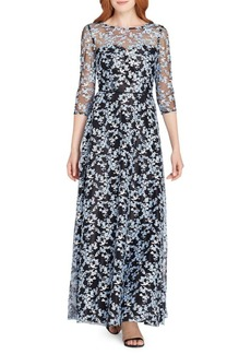 Tahari Arthur S. Levine Novelty Embroidered A-Line Gown