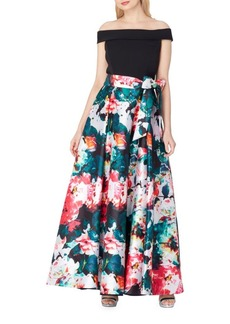 Tahari Arthur S. Levine Off-the-Shoulder Floral Ball Gown