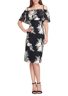 Tahari Arthur S. Levine Off-the-Shoulder Lace Sheath Dress