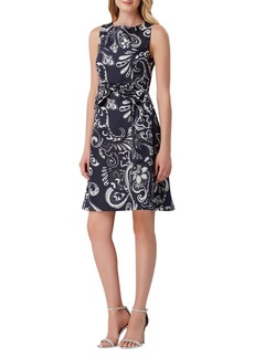 Tahari Arthur S. Levine Paisley Bow Fit-&-Flare Dress