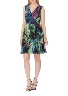 Tahari Arthur S. Levine Palm Print Wrap Dress